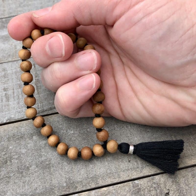 27 bead mala bracelet with sandalwood