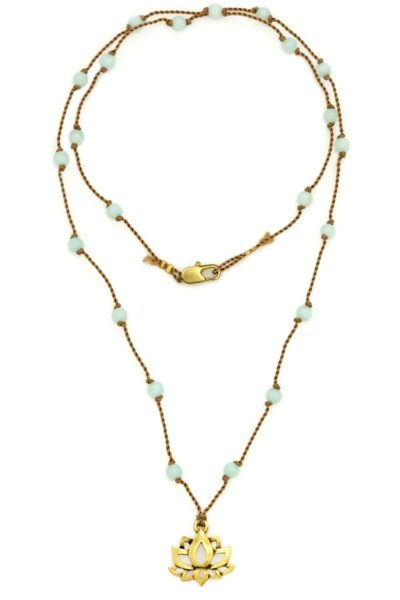 Golden lotus amazonite cord necklace