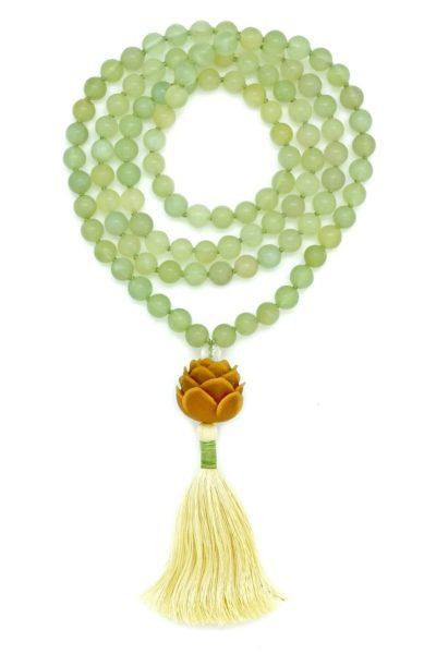 Olive Jade Serpentine Lotus Mala