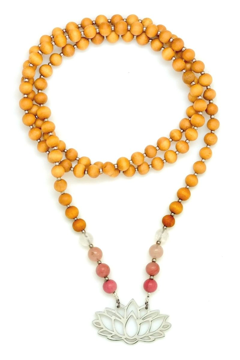 Sandalwood gemstone and silver lotus mala necklace