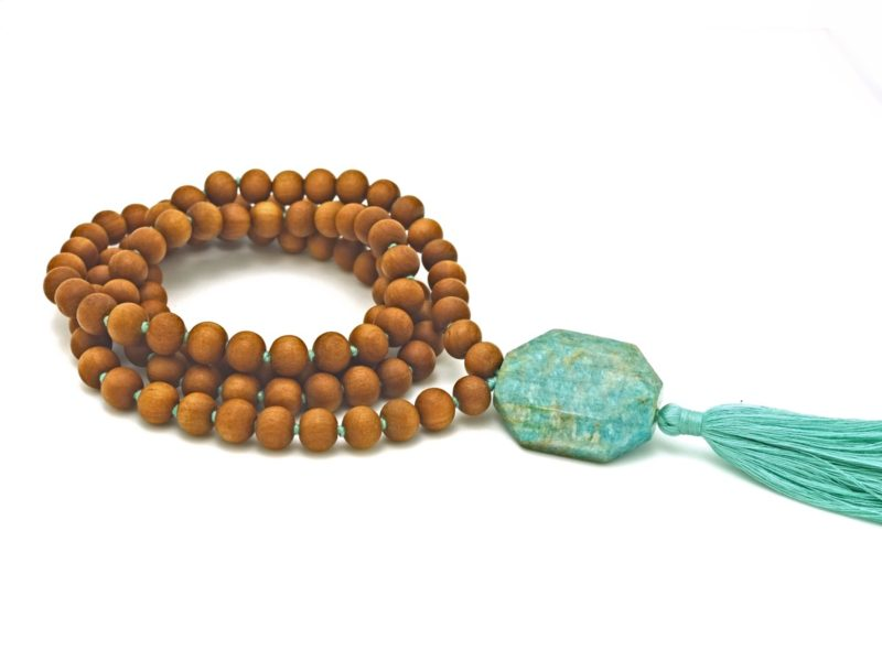 big sandalwood amazonite mala