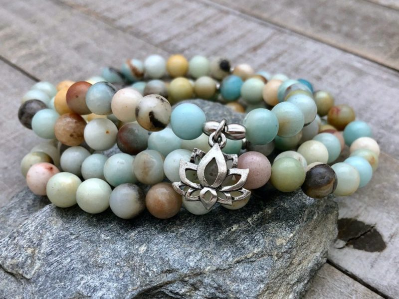 amazonite lotus wrap bracelet