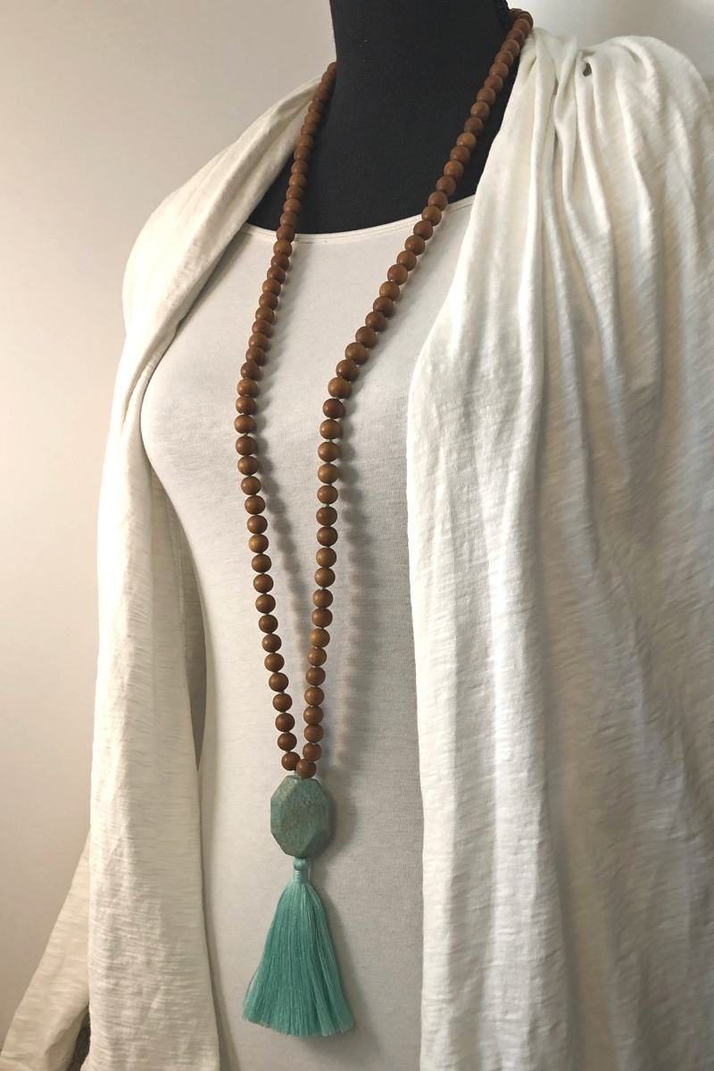 amazonite sandalwood guru mala