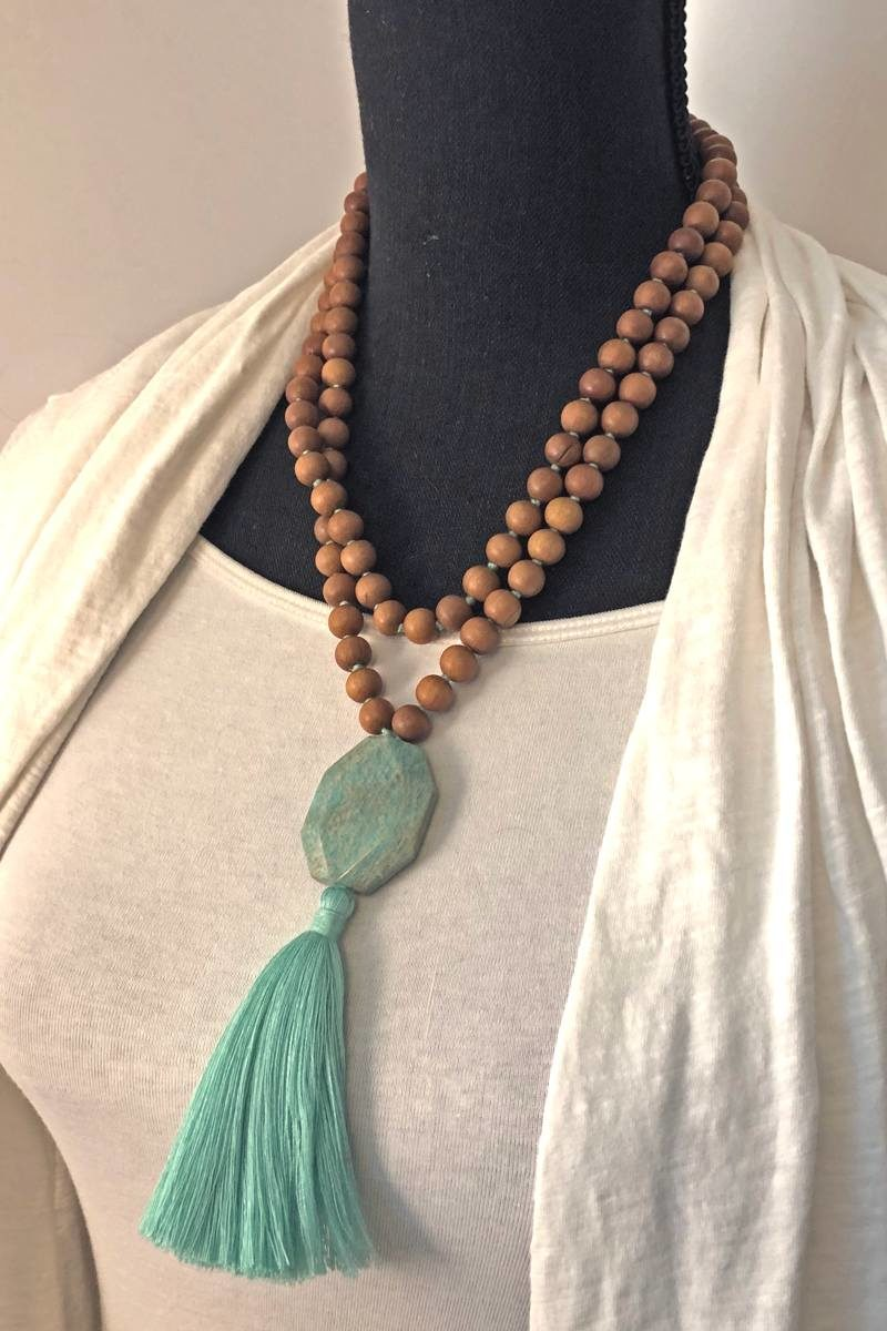 amazonite sandalwood mala double wrap