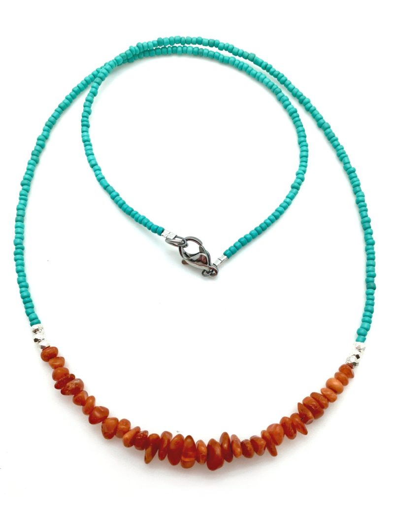 amber silver necklace with turquoise