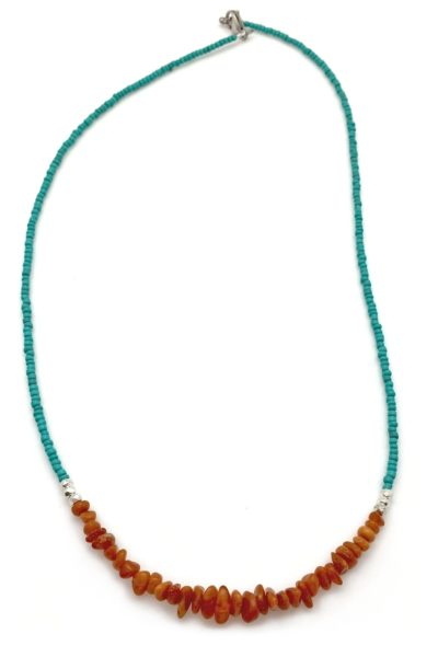 amber silver primal necklace with turquoise 2x3