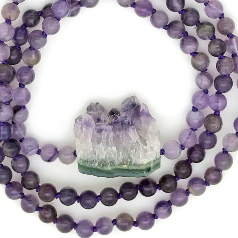 amethyst crystal cluster mala