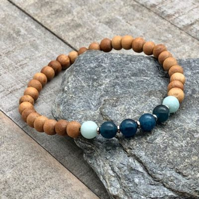 apatite amazonite sandalwood stretch bracelet