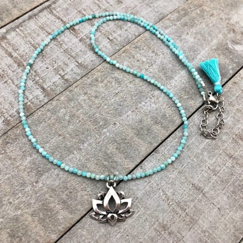 aqua lotus necklace