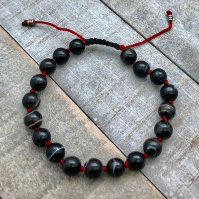 black onyx knotted adjustable bracelet