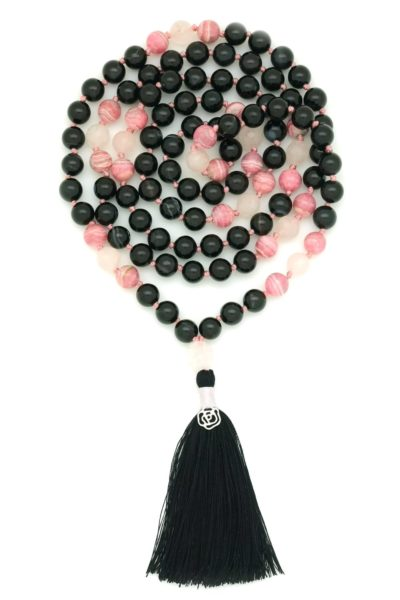 black onyx rhodonite rose mala