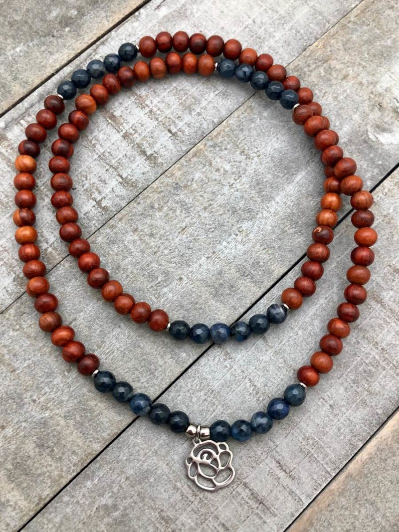 blue rose wrap mala bracelet