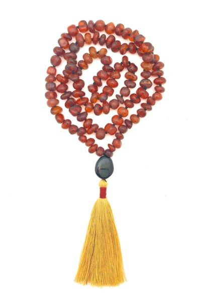 boho amber tassel knotted necklace