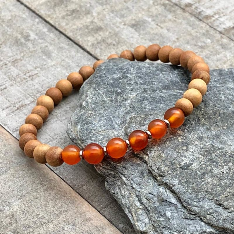carnelian sandalwood stretch bracelet
