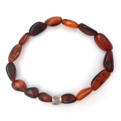 congac amber bracelet silver leaf