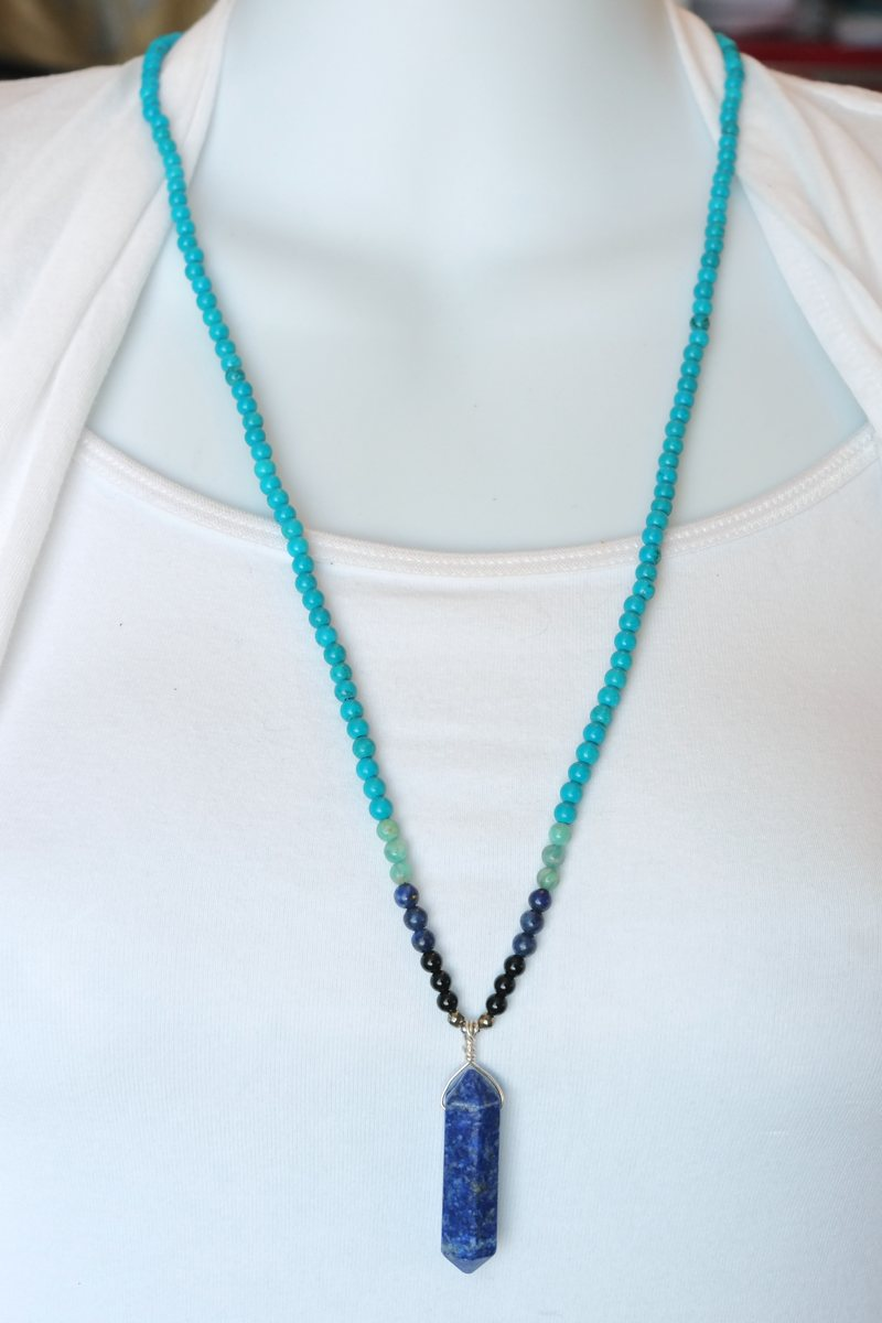 double point lapis turquoise necklace on