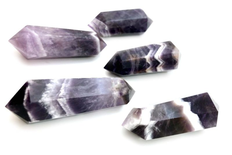 double terminated banded amethyst crystals