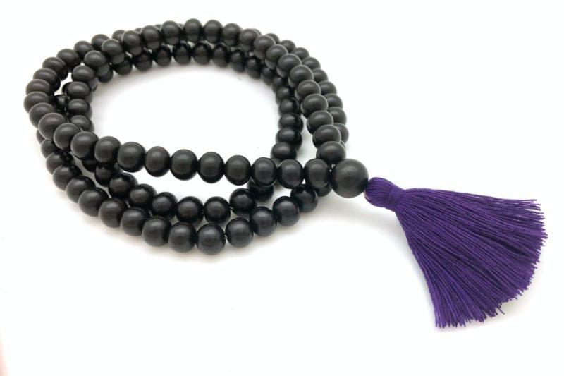 ebony wood mala purple tassel