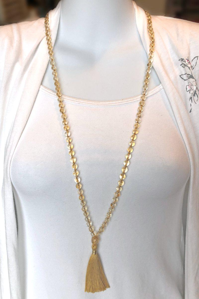 golden citrine mala necklace