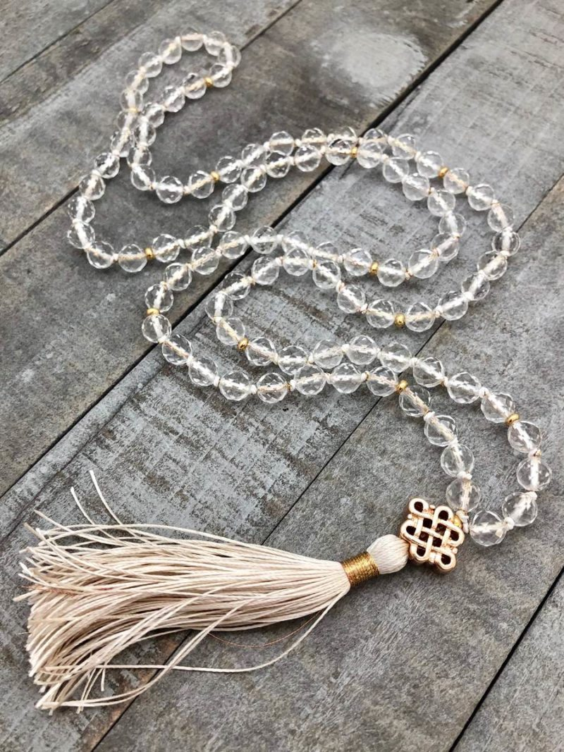 golden endless knot clear quartz mala