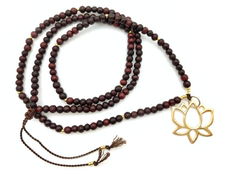 golden lotus necklace with rosewood
