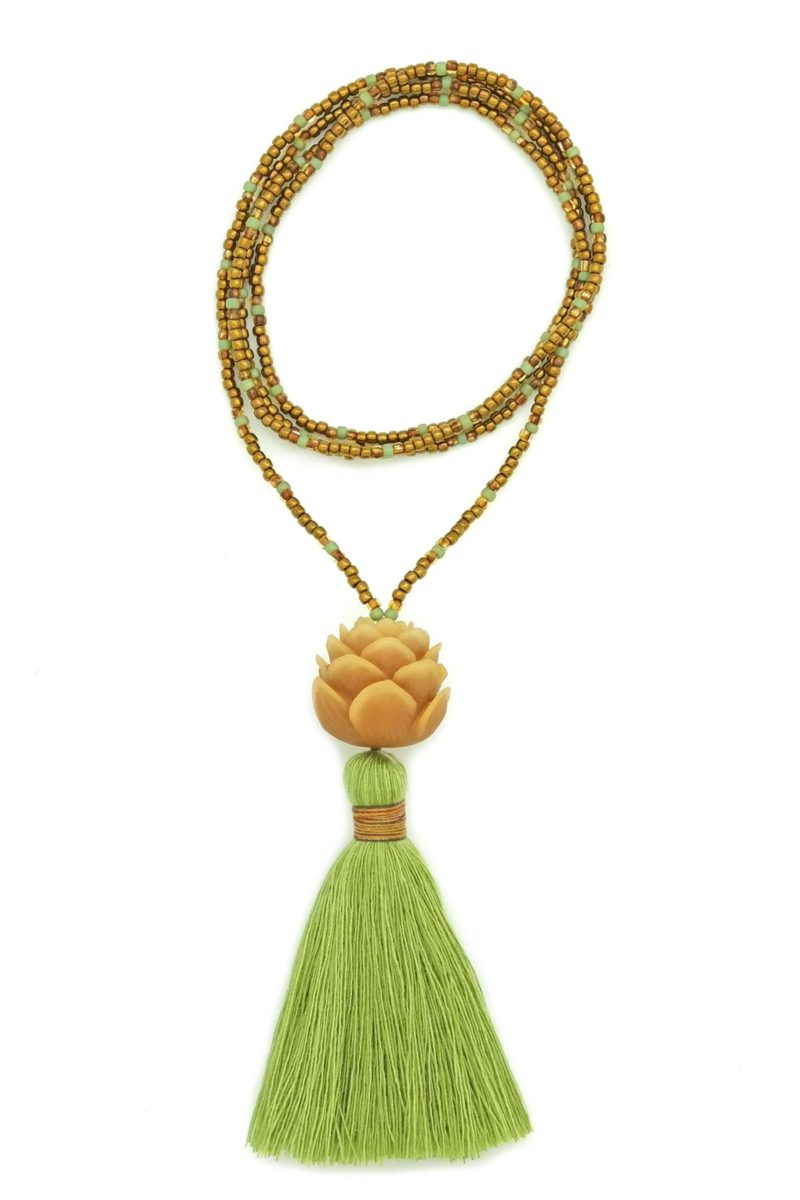green & bronze lotus tassel necklace
