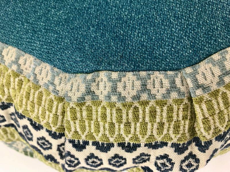 green zafu cushion closeup