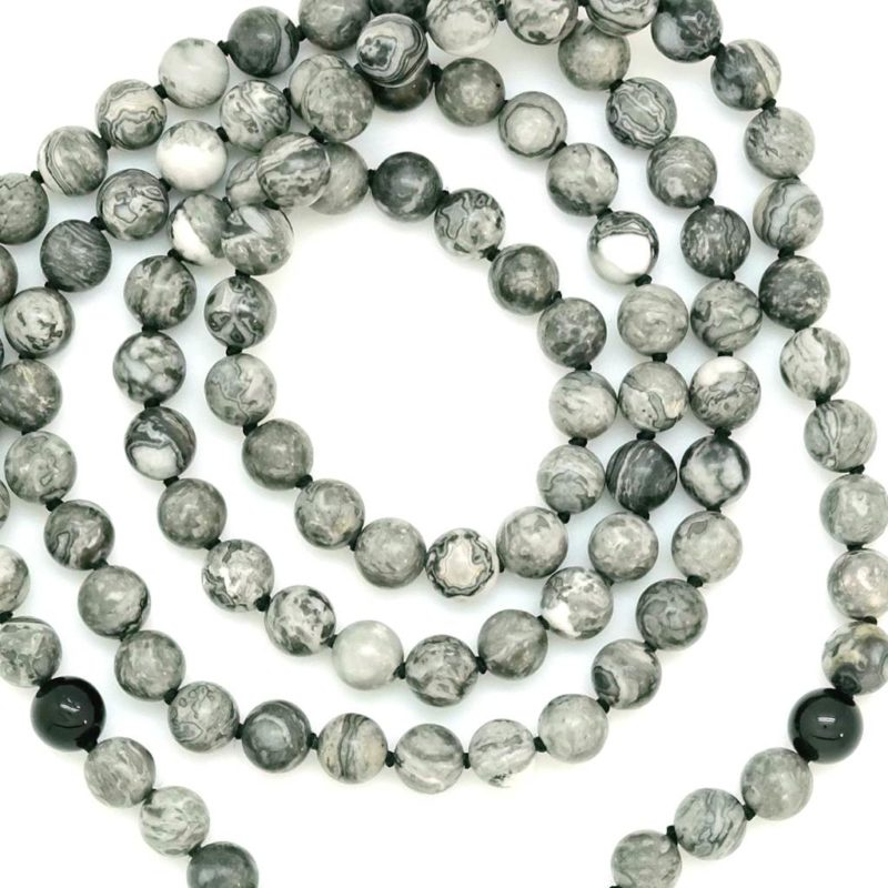 grey jasper black onyx mala beads