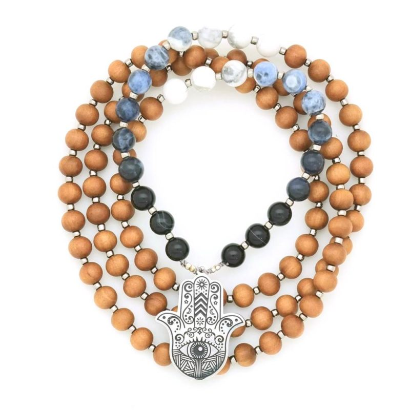 hamsa ombre prayer necklace mala circle