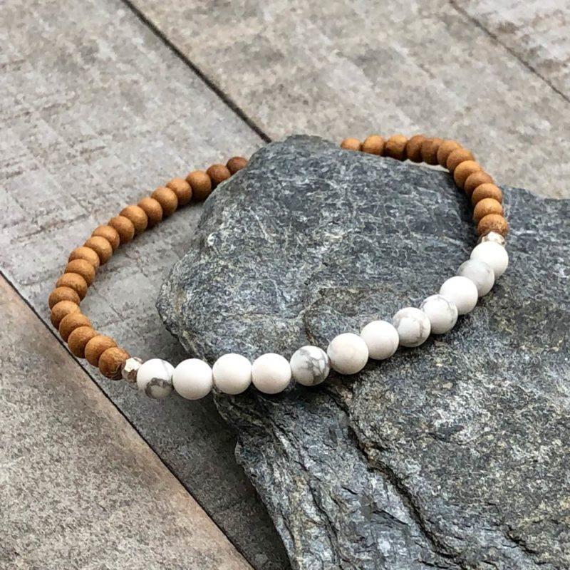 howlite sandalwood silver 4mm stretch bracelet