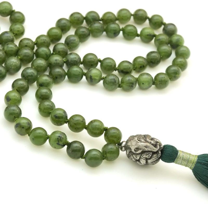 elephant mala with jade mala beads