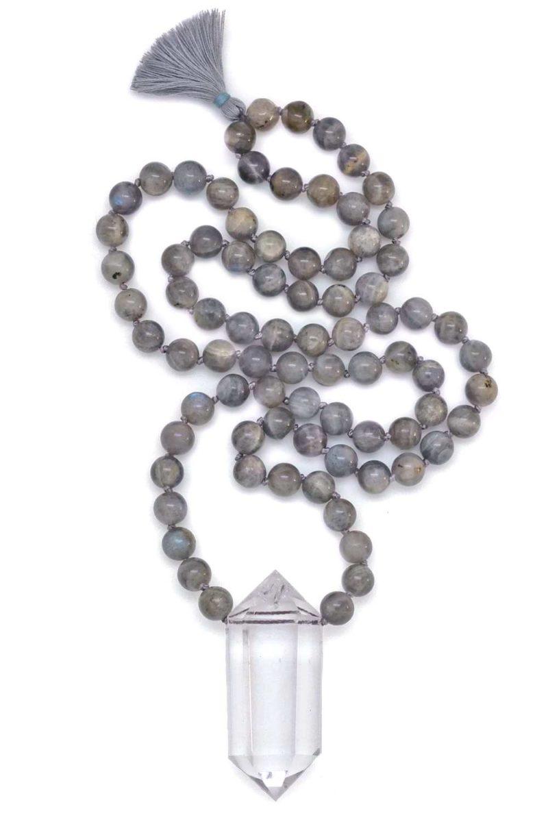 labradorite & double point quartz crystal