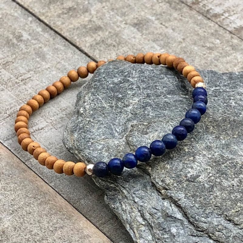 lapis sandalwood silver 4mm stretch bracelet