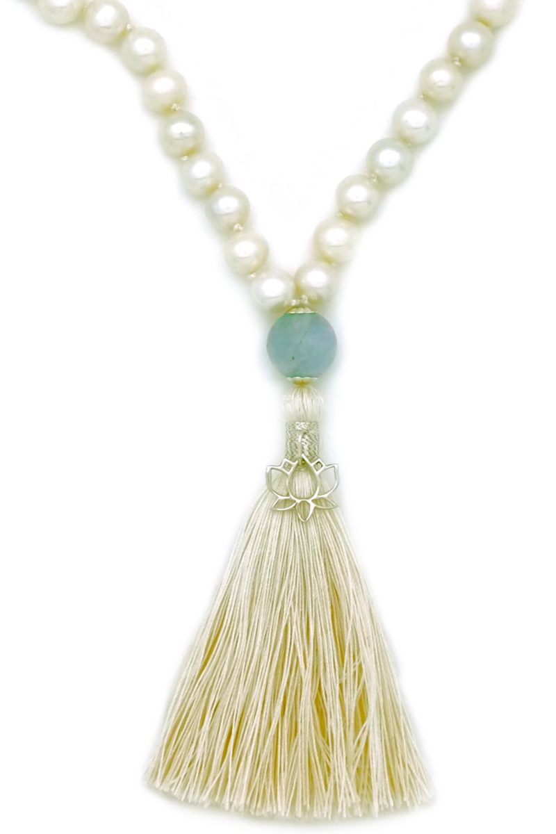 lotus charm on pearl aquamarine mala