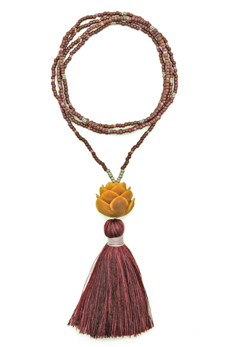 maroon lotus tassel necklace