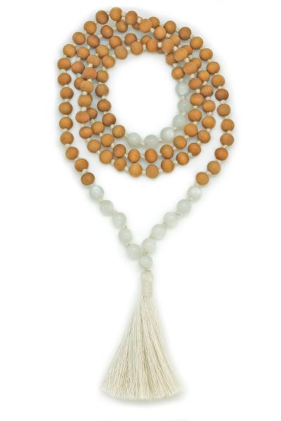 sandalwood moonstone mala