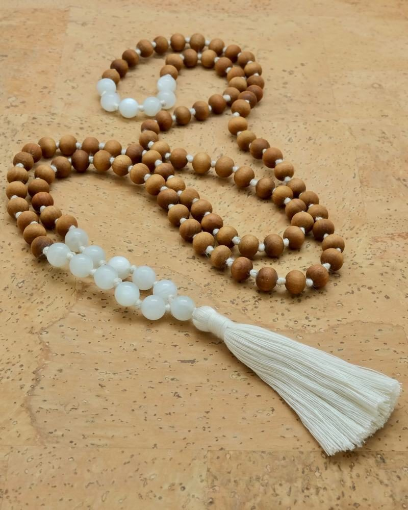 moonstone sandalwood mala
