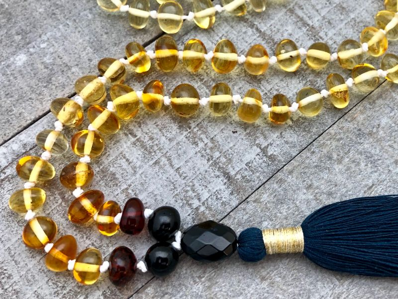 multicolored amber tassel necklace
