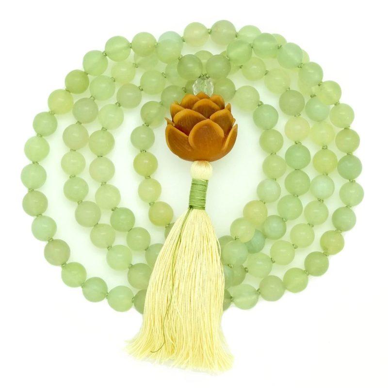 olive jade serpentine lotus mala wrap