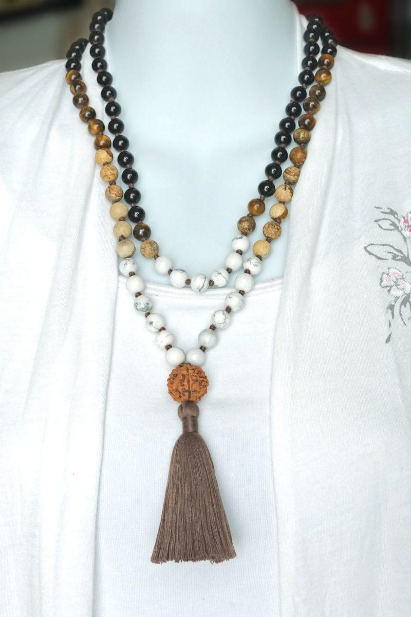 onyx unity mala necklace doubled