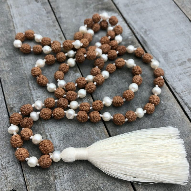 pearl mala with rudraksha