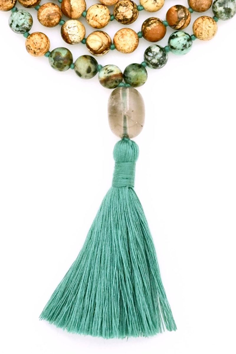 picture & african turquoise jasper mala tassel