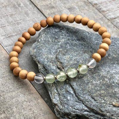 prehnite quartz sandalwood stretch bracelet