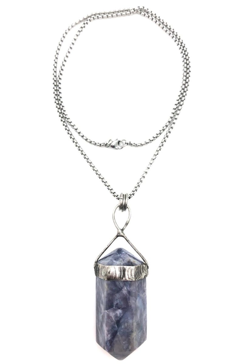 purple chalcedony point pendant necklace full
