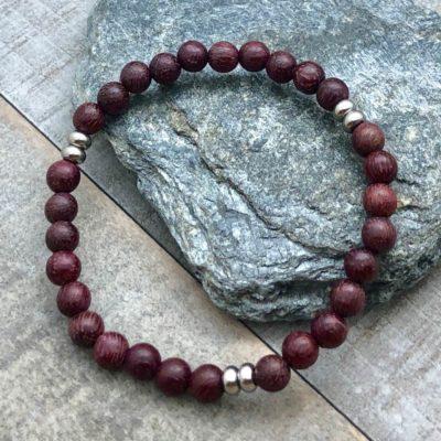 purple heart wood steel stretch bracelet