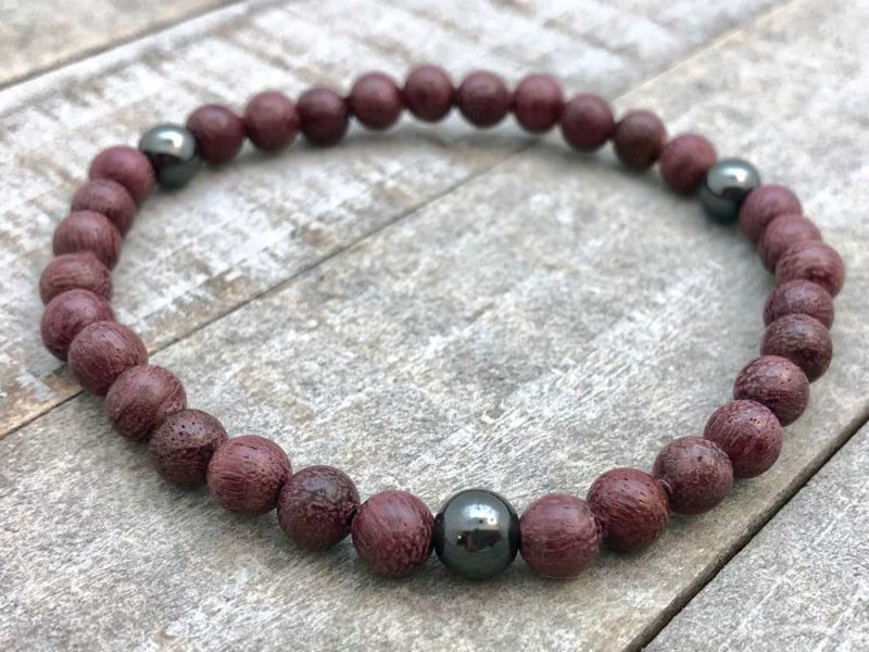 purpleheart hematite wrist mala bracelet