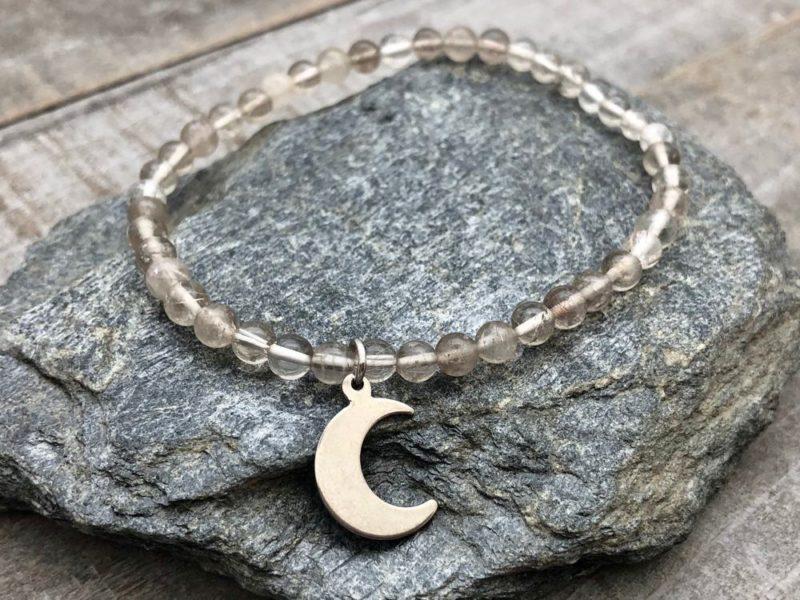 quartz moon charm bracelet
