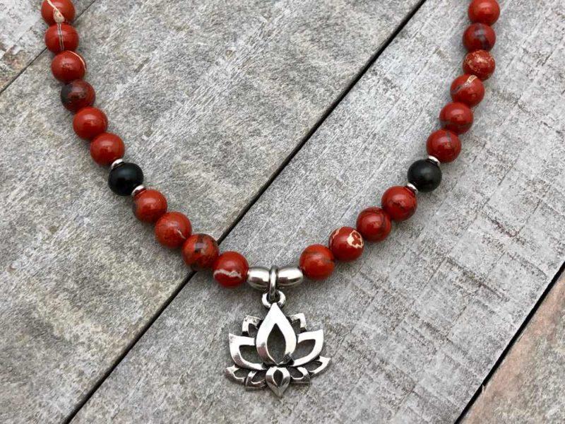 red jasper onyx lotus wrap mala