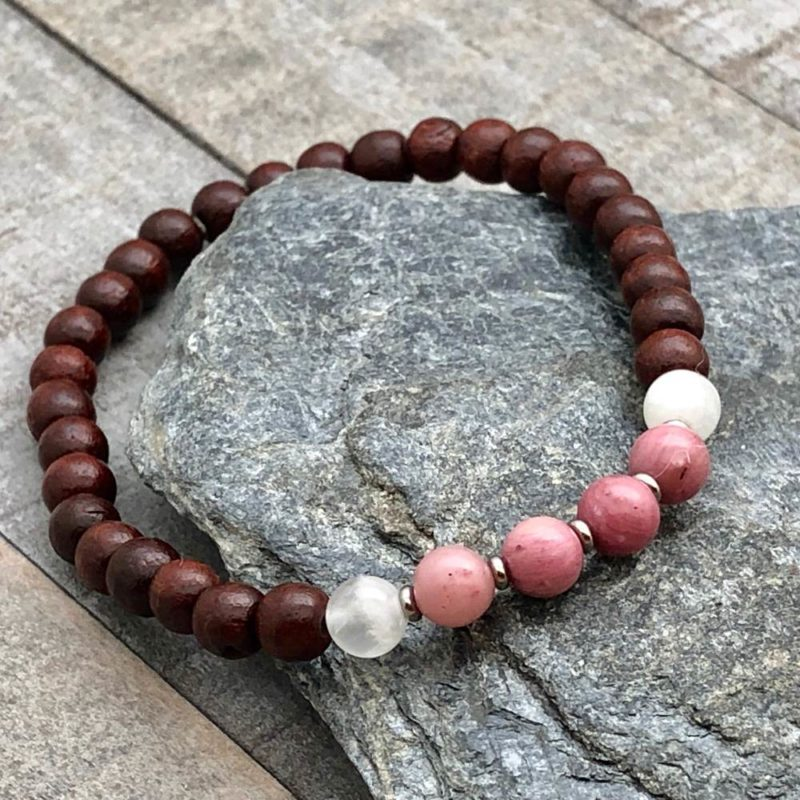 rhodonite moonstone rosewood stretch bracelet