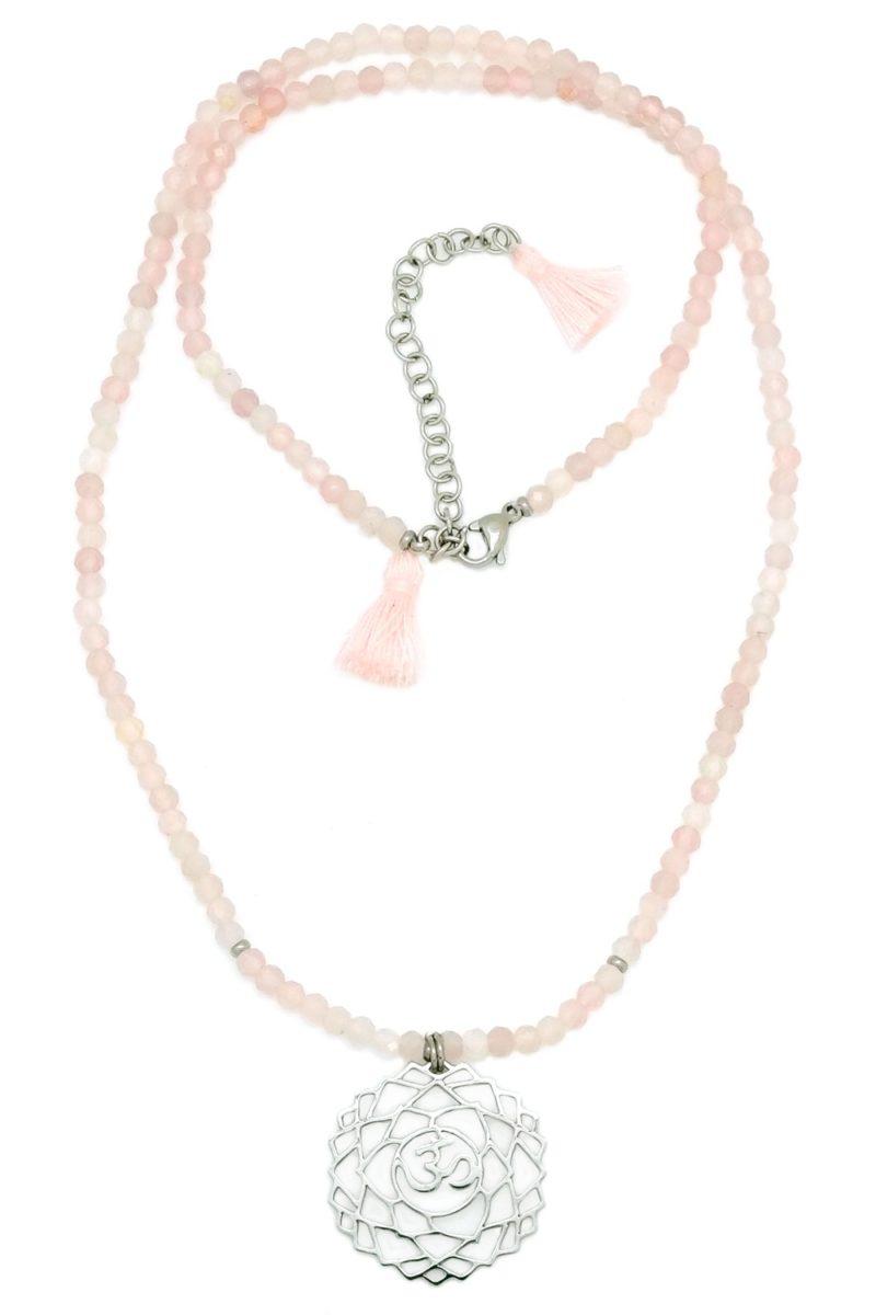 rose quartz 7th chakra necklace